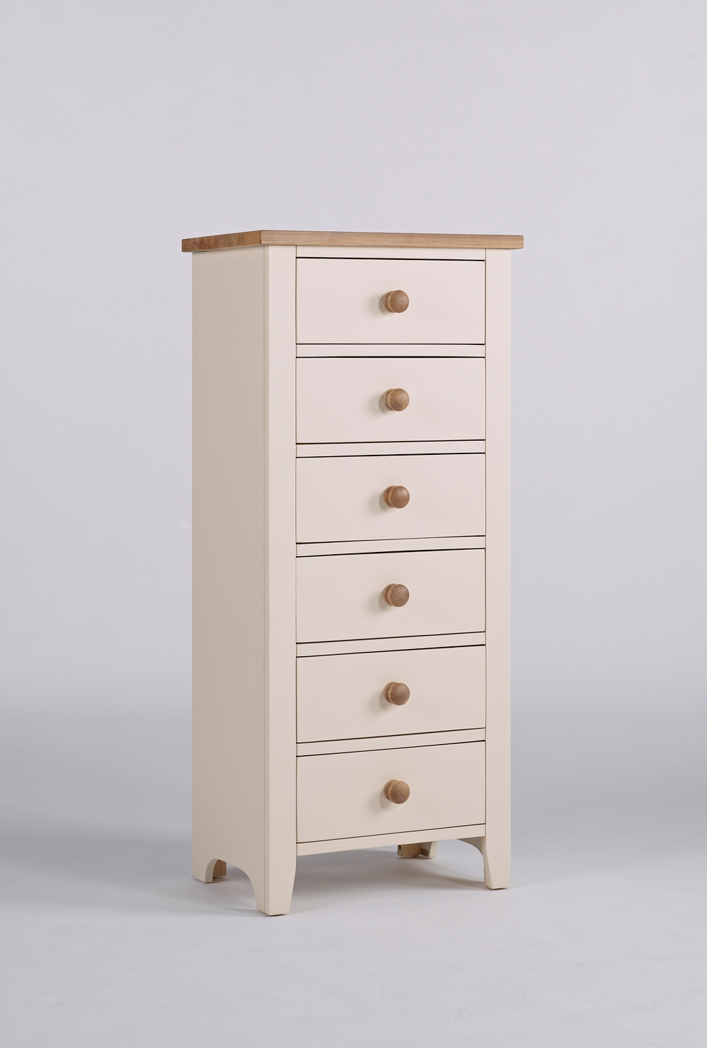 Camden Painted Pine & Ash 6 Drawer Wellington Chest of Drawers