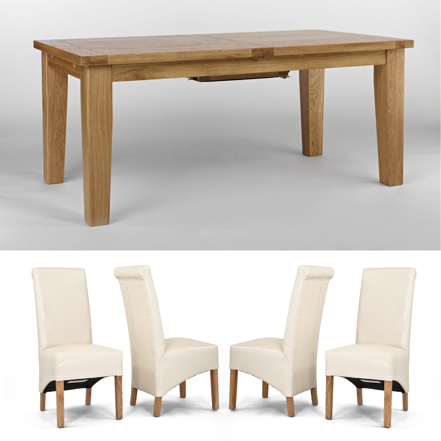 Chiltern Grand Oak Extending Dining Table - 1800-2300mm + 6 or 8 Sherwood Oak Cream Roll Back Dining Chairs (Table + 8 chairs)