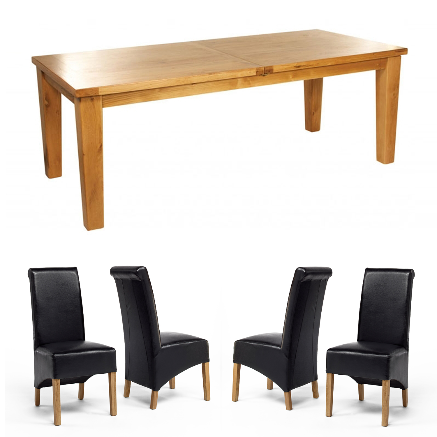Chiltern Grand Oak Extending Dining Table - 2200-2700mm + 8 or 10 Sherwood Rollback Black Dining Chairs (10 BLK Chairs)