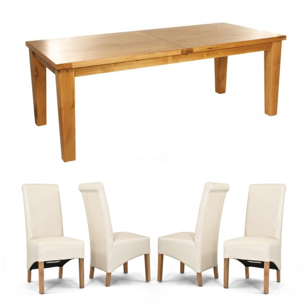 Chiltern Grand Oak Extending Dining Table – 2200-2700mm + 8 or 10 Sherwood Rollback Cream Dining Chairs (10 CR Chairs)