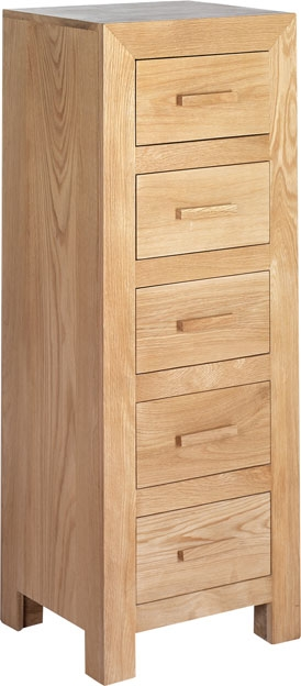 Cuba Solid Oak 5 Drawer Tall Chest