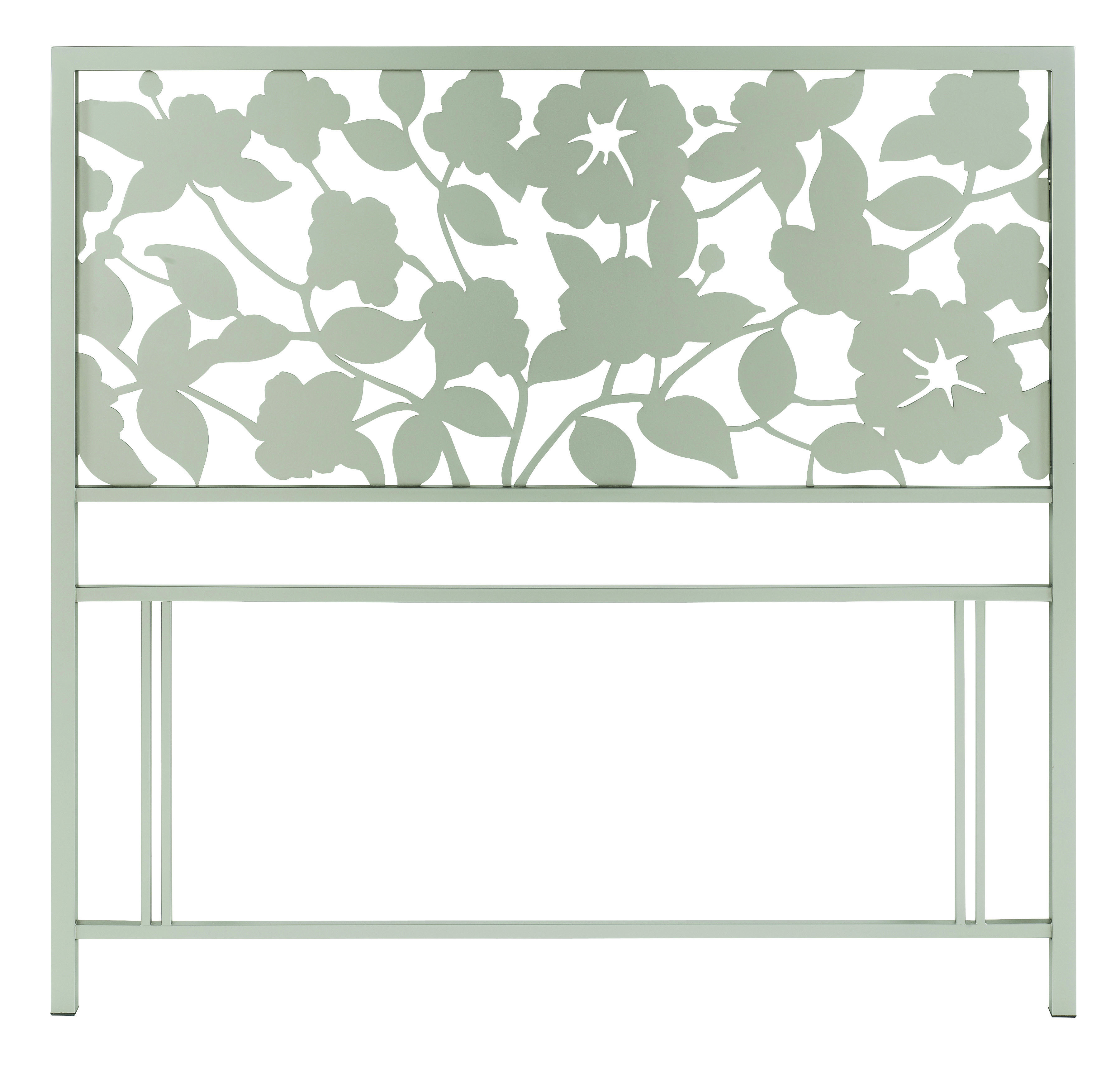 Floral Satin Nickel Headboard - Multiple Sizes (Double)