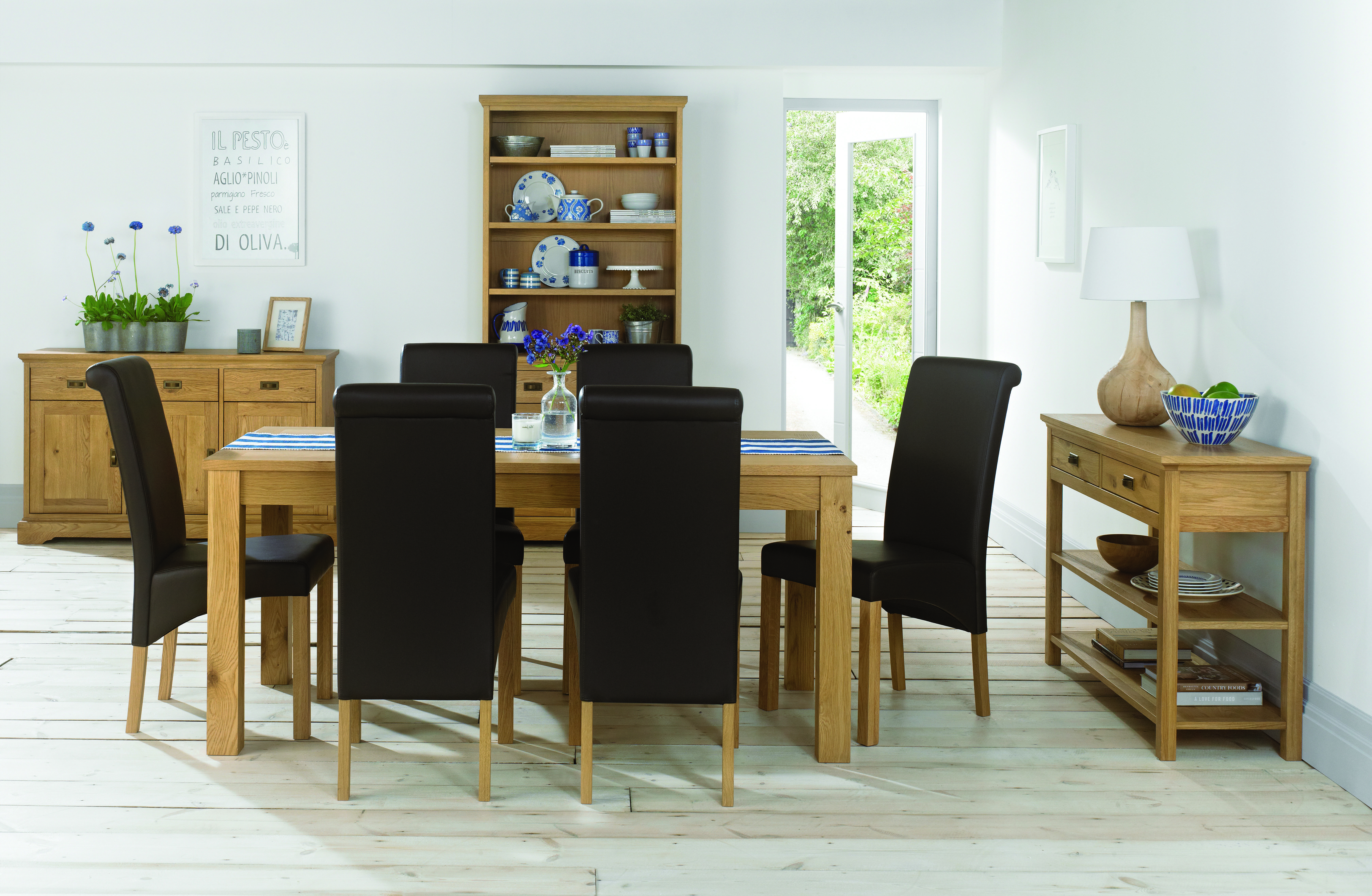 Hampshire Oak 6 Seater Fixed Dining Table + 6 Upholstered Dining Chairs
