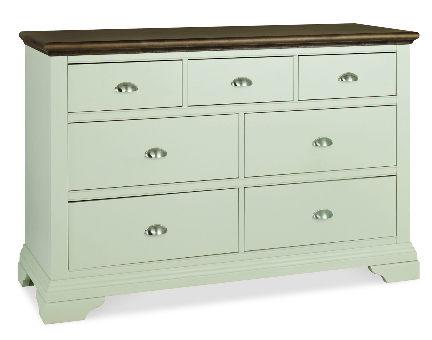 Hampstead Soft Grey and Walnut 3+4 Drawer Wide Chest (Hampstead Soft Grey and Walnut 3+4 Drawer Wide Chest)