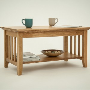 Hereford Rustic Oak Coffee Table with Shelf