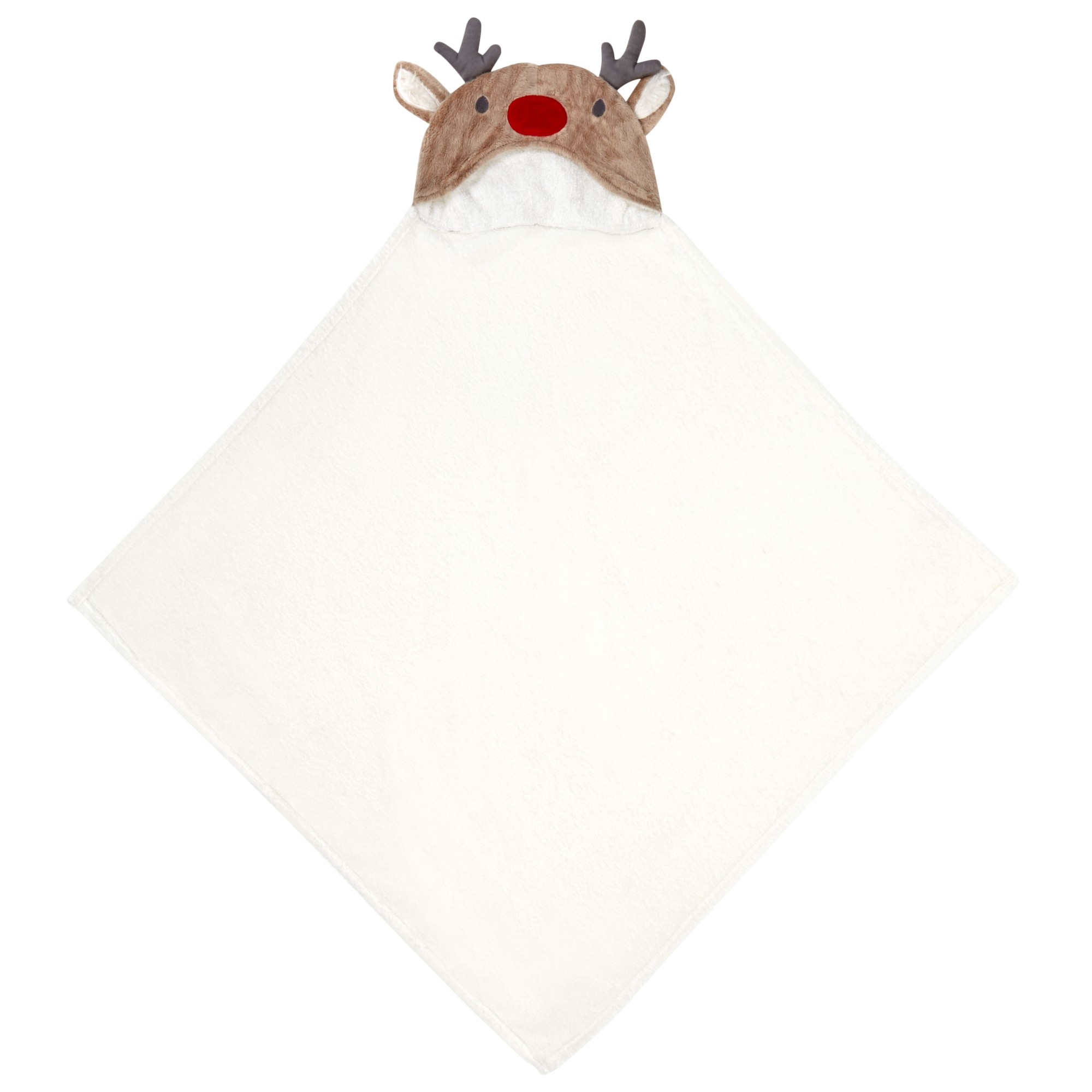 John Lewis Baby's Reindeer Hooded Christmas Towel