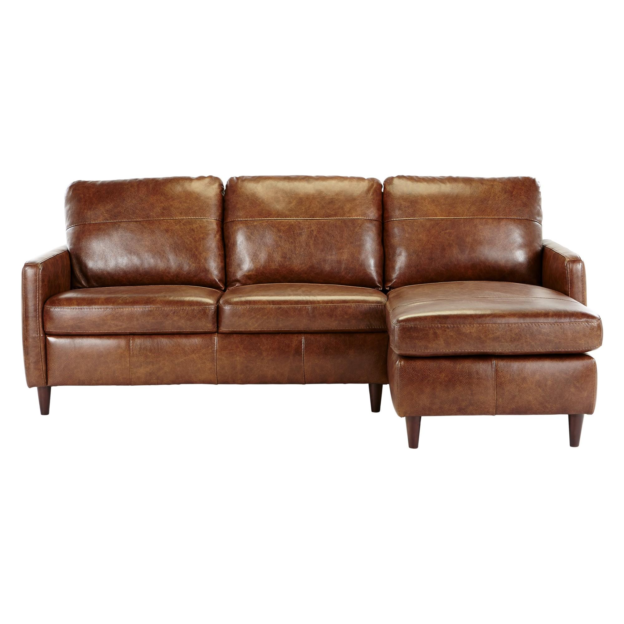 John Lewis Dalston Semi-Aniline Leather RHF Chaise End Sofa