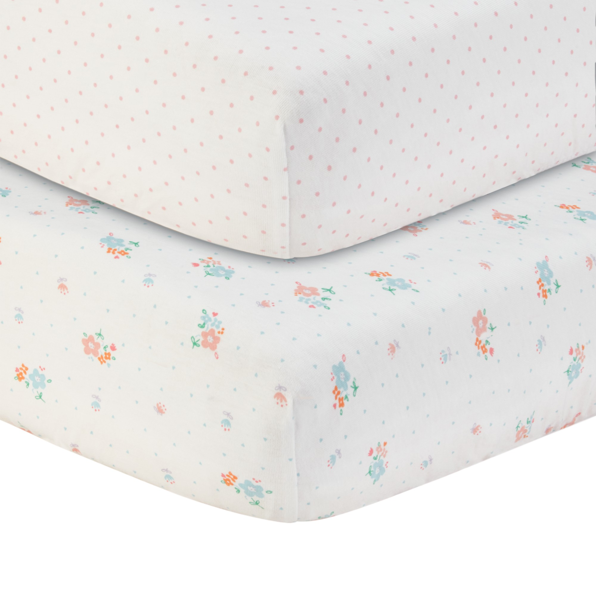 John Lewis Spotted and Floral Printed Fitted Cotbed Sheet