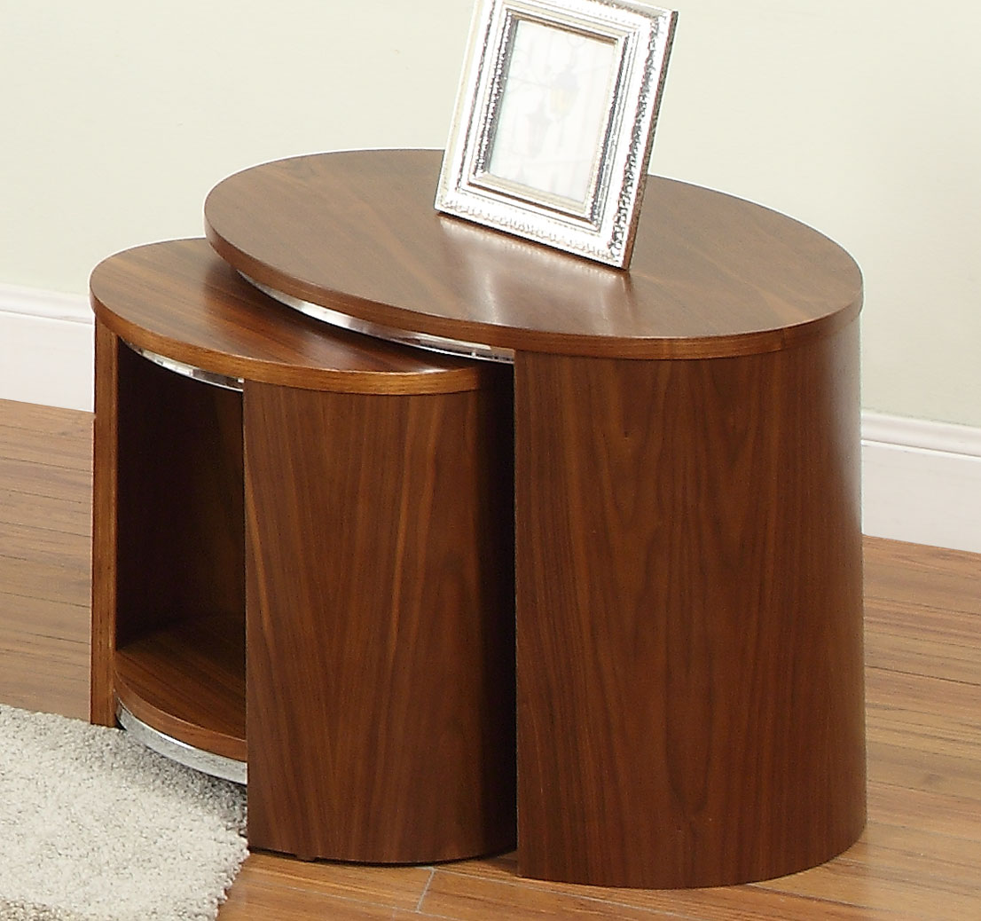 Jual Curve Walnut Veneer Nest of Tables JF306 (Jual Curve Walnut Veneer Nest of Tables JF306)