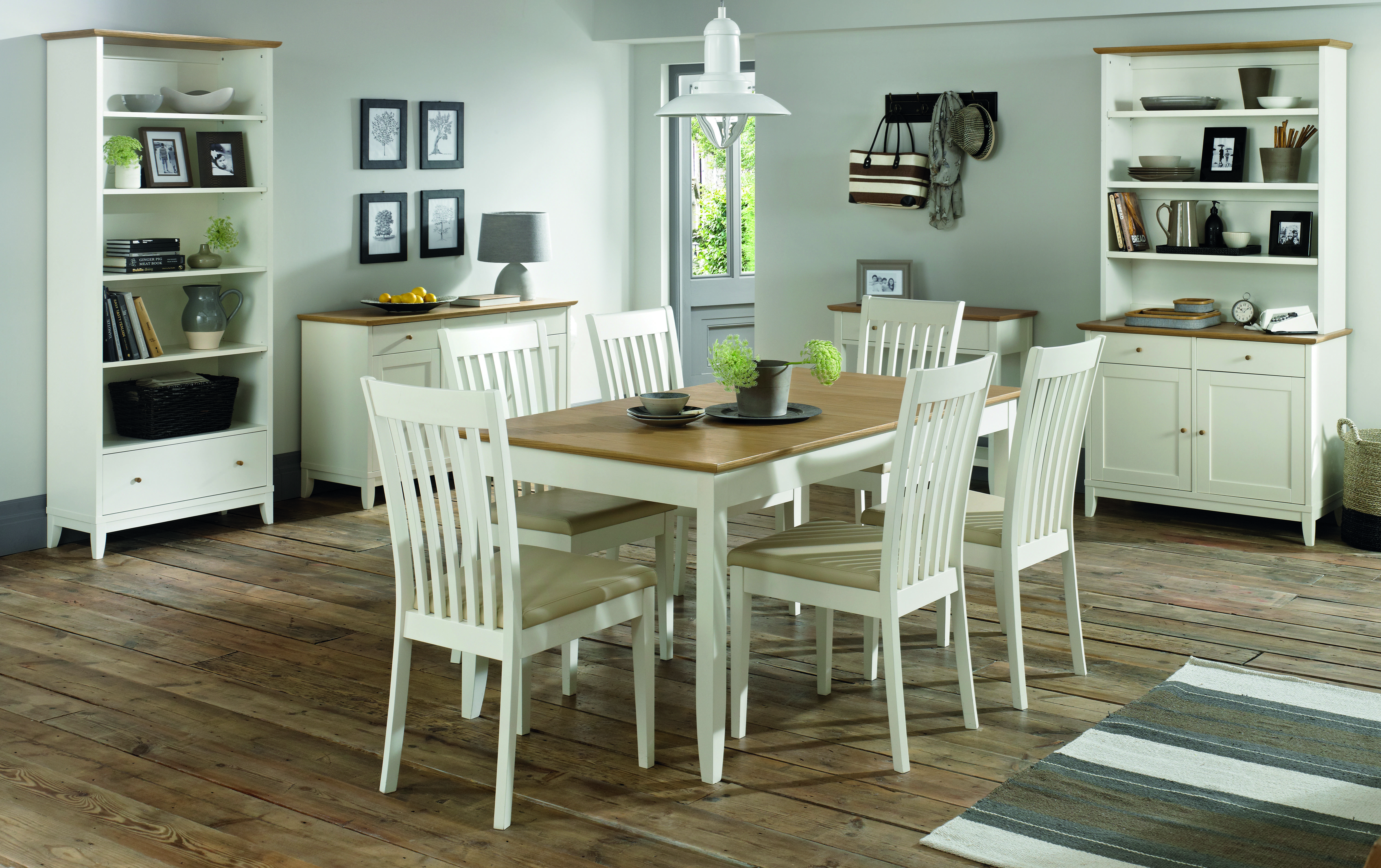 Shaker Two Tone 6-8 Butterfly Extension Dining Table + 6 or 8 Slatted Dining Chairs (8 chairs)