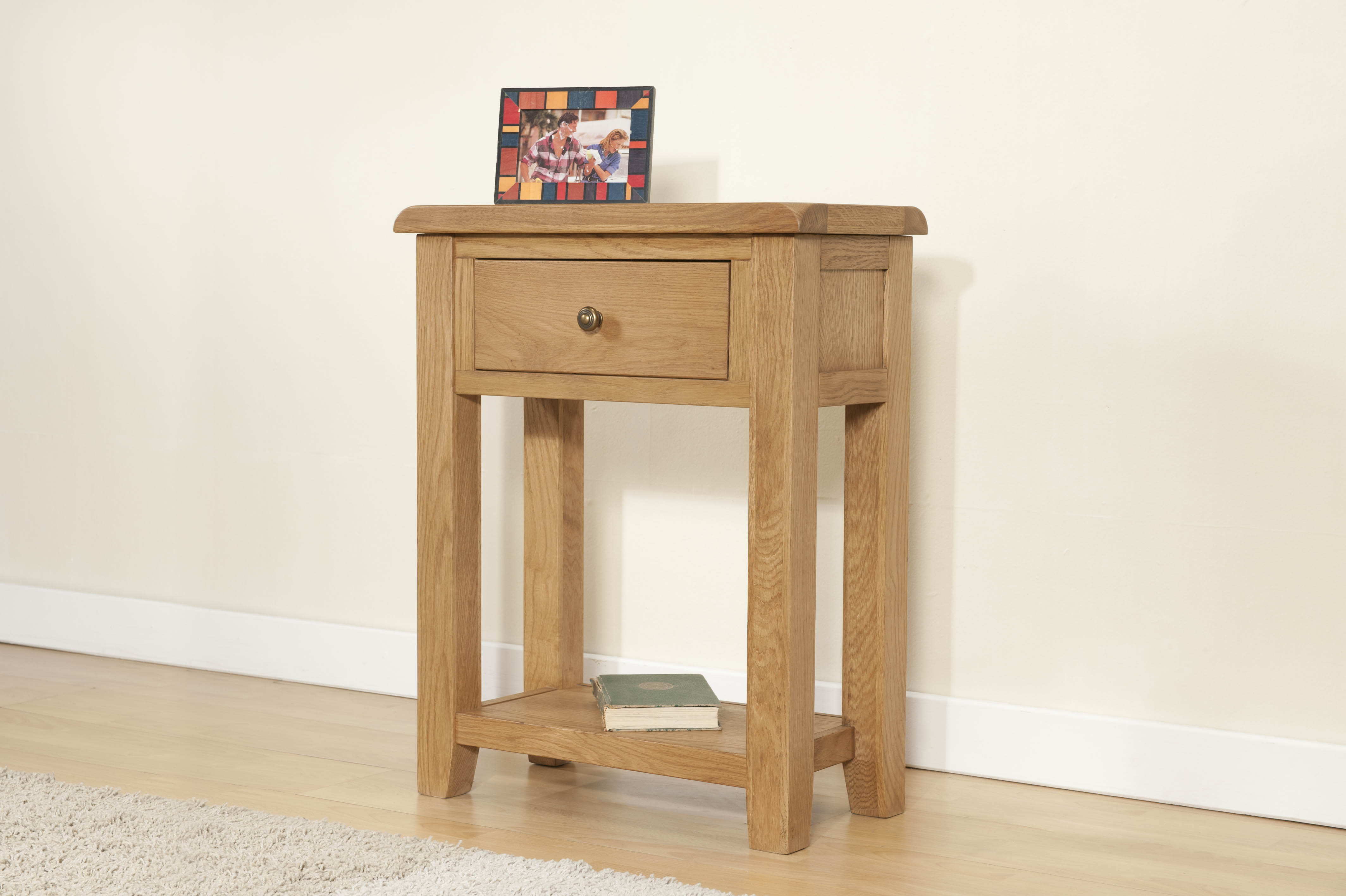 Shrewsbury Oak Small Console with 1 Drawer and Shelf (small console)