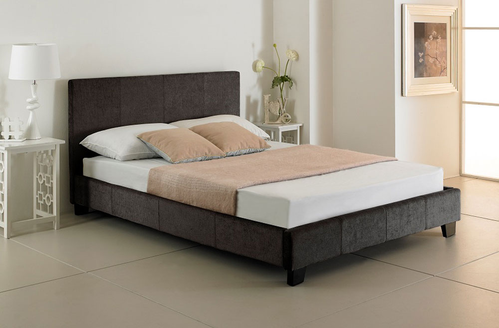 Valencia Charcoal Upholstered Bed - (multiple sizes) (Valencia Charcoal Upholstered Bed - king size)