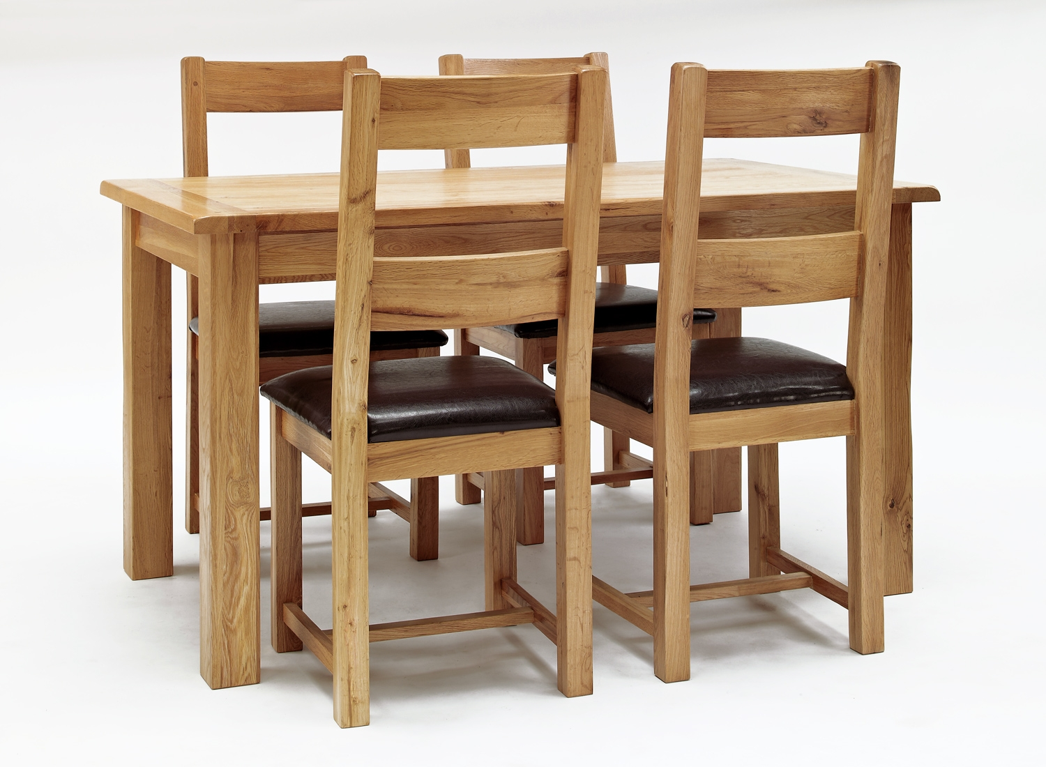 Westbury Reclaimed Oak Dining Table & 4 Oak & Leather Dining Chairs