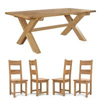 Chiltern Grand Fixed Cross Leg Table 2100mm + Set of 8 Dining Chairs (multiple styles) (Brown Roll Back)