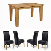 Chiltern Grand Small Extending Table 1400-1800mm + 4 or 6 Sherwood Oak Rollback Black Dining Chairs (Chiltern Grand sml ext table 1400-1800 + 6 RB blk chairs)
