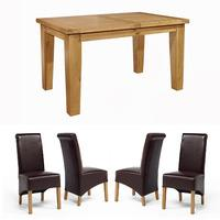 Chiltern Grand Small Extending Table 1400-1800mm + 4 or 6 Sherwood Oak Rollback Brown Dining Chairs (4 Brown Chairs)