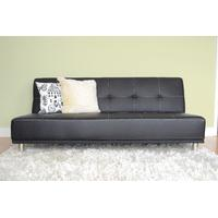 Duke Faux Leather Futon Sofa Bed - multiple styles (Black)