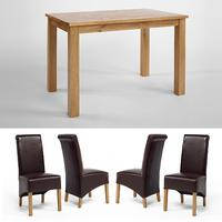 Lansdown Oak Dining Table 1200mm + Set of 4 Dining Chairs (multiple styles) (Lansdown Oak Dining Table 1200mm + 4 Lansdown Oak Brown Rollback Chairs)