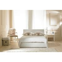 Madrid White Faux Leather Ottoman Bed - Single