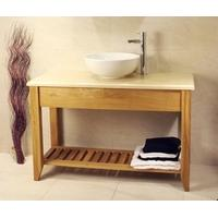 Oak Bathroom Double Wash Stand With Shelf - Aquarius Collection (Dark Finish with Oak top)