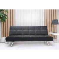 Rialto Faux Leather Futon Sofa Bed (Black)