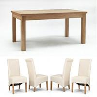 Sherwood Oak 1600mm Fixed Dining Table + 4 or 6 Cream Roll Back Dining Chairs (Sherwood Oak 1600mm Fixed Dining Table + 4 Cream Roll Back Dining Chairs)