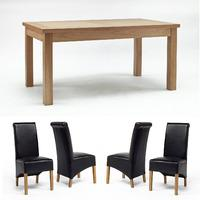 Sherwood Oak Dining Table 1600mm + 4 or 6 Sherwood Oak Black Roll Back Dining Chairs (Sherwood Oak Dining Table 1600mm + 4 Sherwood Oak Black Rollbacks)