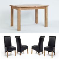 Sherwood Oak Small Extending Dining Table + 4 or 6 Sherwood Oak Black Rollback Chairs (4)