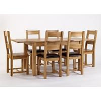 Westbury Reclaimed Oak Extending Table & 6 Oak Dining Chairs - Solid or Leather Seats (Table & 6 Leather Seat Chairs)