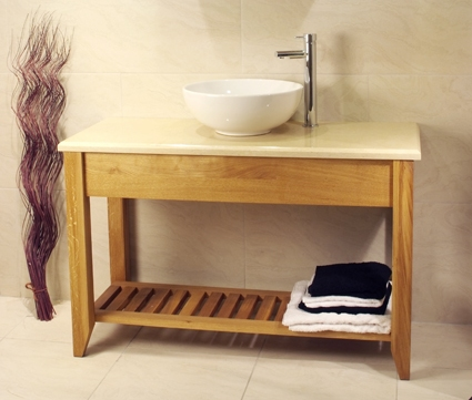 Oak Bathroom Double Wash Stand With Shelf – Aquarius Collection (Dark Finish with Oak top)