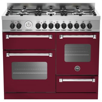 Bertazzoni MAS1006MFET Electric Dual Fuel Cooker Vino Burgundy