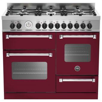 Bertazzoni MAS1006MFET Electric Dual Fuel Cooker Vino Burgundy
