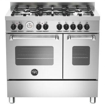Bertazzoni MAS905MFED Twin Dual Fuel Range Cooker Stainless Steel
