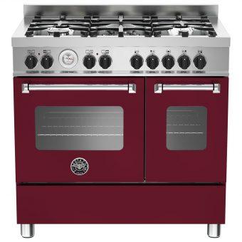 Bertazzoni MAS905MFED Twin Dual Fuel Range Cooker Vino Burgundy