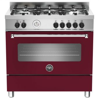 Bertazzoni MAS905MFES Dual Fuel Single Range Cooker Vino Burgundy