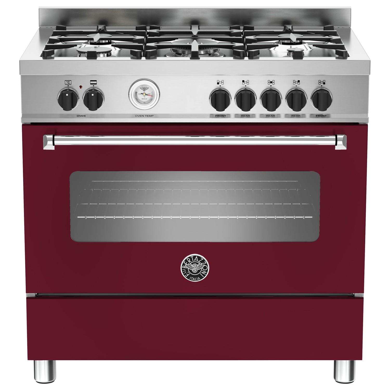 Bertazzoni MAS905MFES Dual Fuel Single Range Cooker Vino Burgundy