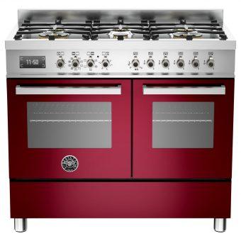 Bertazzoni Professional Series 100cm Dual Fuel Range Cooker Burgundy
