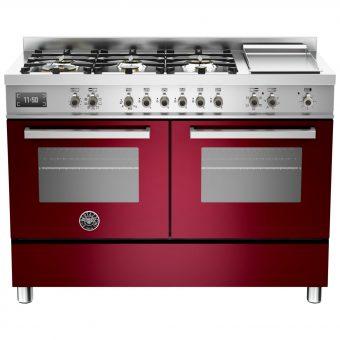 Bertazzoni Professional Series 120cm Dual Fuel Twin Range Cooker Burgundy