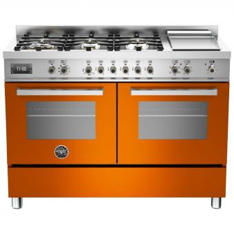 Bertazzoni Professional Series 120cm Dual Fuel Twin Range Cooker Orange