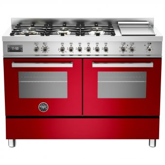 Bertazzoni Professional Series 120cm Dual Fuel Twin Range Cooker Red