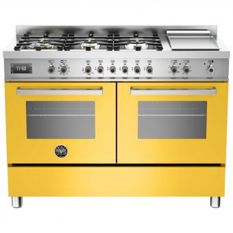 Bertazzoni Professional Series 120cm Dual Fuel Twin Range Cooker Yellow