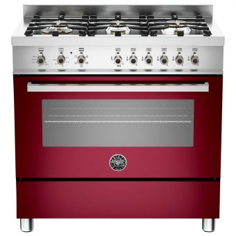 Bertazzoni Professional Series 90cm Dual Energy Single Range Cooker Burgundy