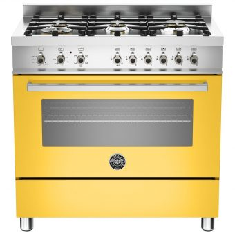 Bertazzoni Professional Series 90cm Dual Energy Single Range Cooker Yellow