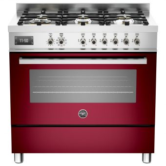 Bertazzoni Professional Series 90cm Dual Fuel Single Range Cooker Burgundy