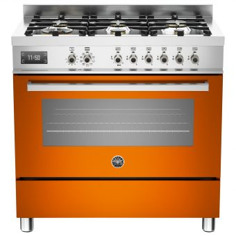 Bertazzoni Professional Series 90cm Dual Fuel Single Range Cooker Orange