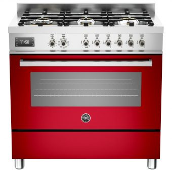 Bertazzoni Professional Series 90cm Dual Fuel Single Range Cooker Red