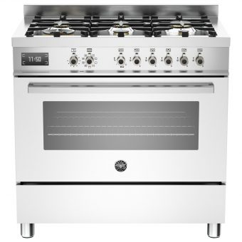 Bertazzoni Professional Series 90cm Dual Fuel Single Range Cooker White