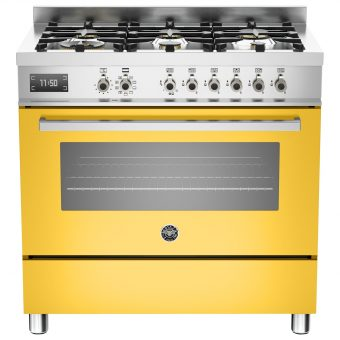 Bertazzoni Professional Series 90cm Dual Fuel Single Range Cooker Yellow