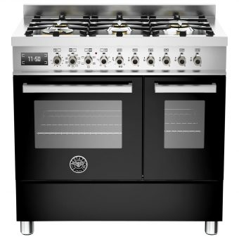 Bertazzoni Professional Series 90cm Dual Fuel Twin Range Cooker Black