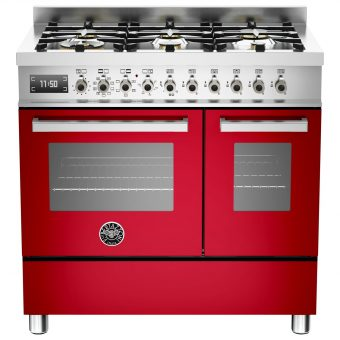 Bertazzoni Professional Series 90cm Dual Fuel Twin Range Cooker Red